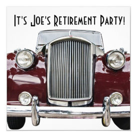 Classic Retro Vintage Car Retirement Party Invites