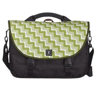 Classic Ripple Chevron Laptop Bag - Olive Green