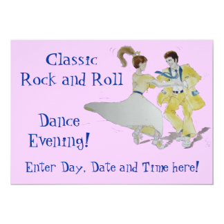 """Classic Rock and Roll Dancing 5"""" X 7"""" Invitation Card"""
