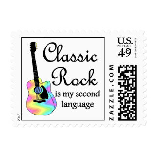Classic Rock is my second language Postage Stamp