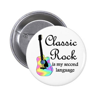 Classic Rock is my second language Round Button