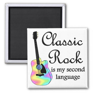 Classic Rock is my second language Square 2 Inch Square Magnet