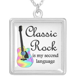 Classic Rock  is my second language Square Pendant Necklace