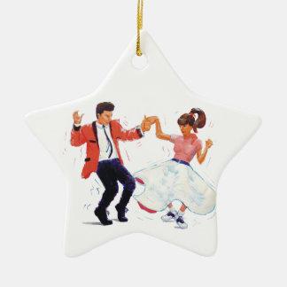 classic rock n roll jivers cartoon christmas ornament