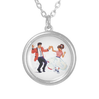 classic rock n roll jivers cartoon silver plated necklace