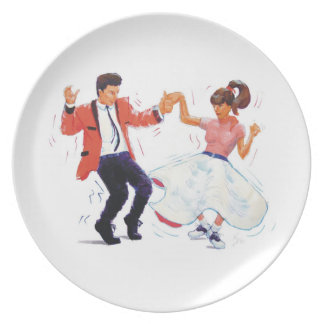 Classic Rock & Roll Teddy Boy Poodle Skirt Dancers Party Plate