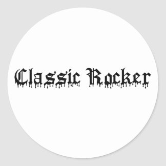 Classic Rocker black text Round Stickers