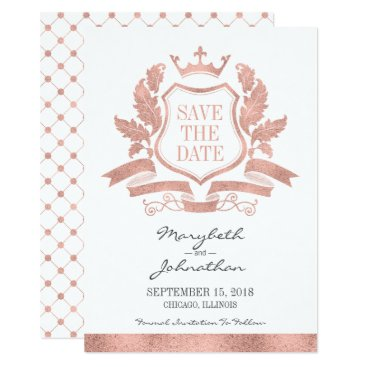 Wedding Themed Classic Rose Gold Crest Save The Date Card