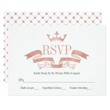 Wedding Themed Classic Rose Gold Crest Wedding RSVP Card