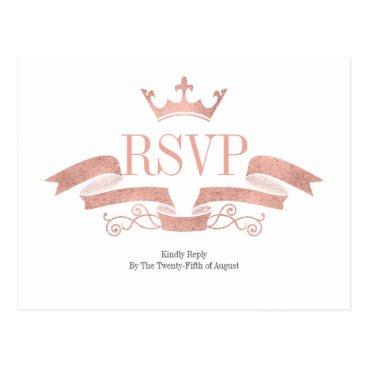 Wedding Themed Classic Rose Gold Crest Wedding RSVP Postcard