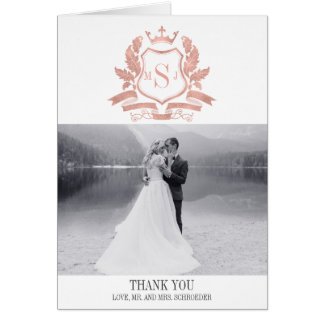 Classic Rose Gold Crest Wedding Thank You Card