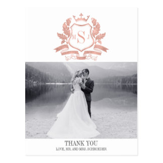 Classic Rose Gold Crest Wedding Thank You Postcard