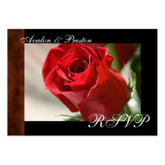 Classic Rose & Leather Look RSVP Card Business Card Templates
