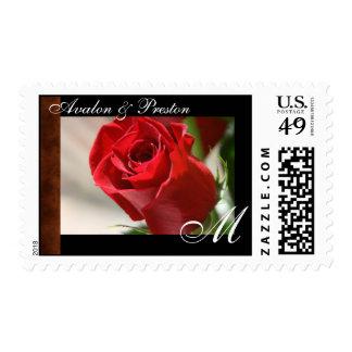 Classic Rose & Leather Monogram Postage Stamp