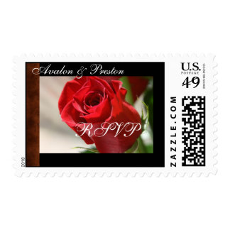 Classic Rose & Leather RSVP Postage Stamp