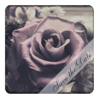 "Classic Rose Save the Date 5.25"" Square Invitation Card"