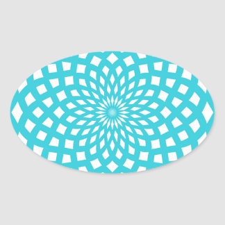 Classic Rosette Pattern in Tiffany Blue and White Oval Sticker
