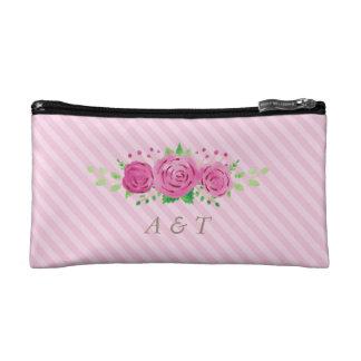 Classic Rosiness Bride Monogram Makeup Bag