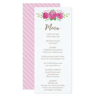 Classic Rosiness Wedding Menu Card