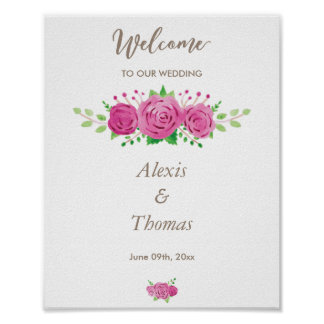 Classic Rosiness Wedding Reception Poster