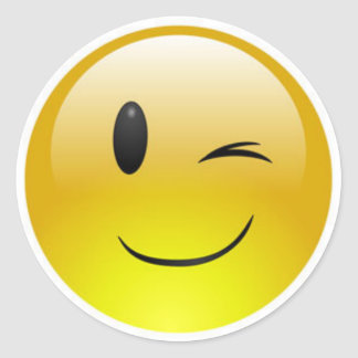 Classic Round Sticker/Winking Emoticons Classic Round Sticker