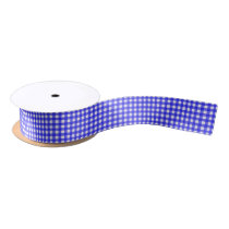 Classic Royal Blue Gingham Pattern Satin Ribbon