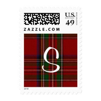 Classic Royal Stewart Plaid Custom Monogram Stamp Postage