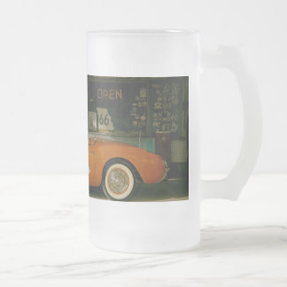 Classic RT 66 Gas Station Frosted Glass Beer Mug