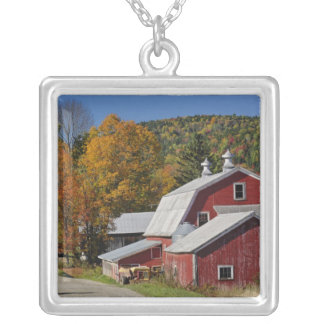 Classic rural barn and road, White Mountain Square Pendant Necklace