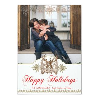 "Classic Rustic Deer Head Holiday Photo Card 5"" X 7"" Invitation Card"