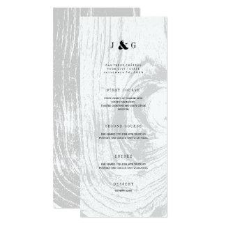 Classic Rustic Woodgrain White Winter Wedding Menu Card