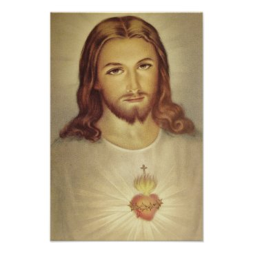 Valentines Themed Classic Sacred Heart of Jesus Poster