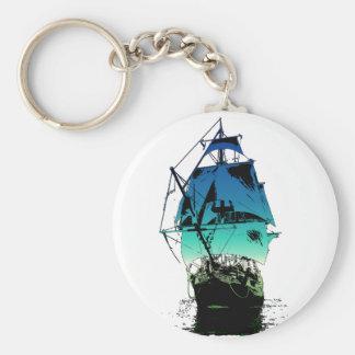 Classic Sailing Ship Basic Round Button Keychain
