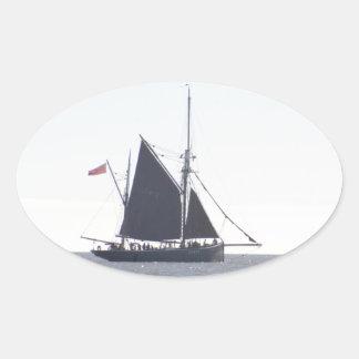 Classic Sailing Smack Oval Sticker