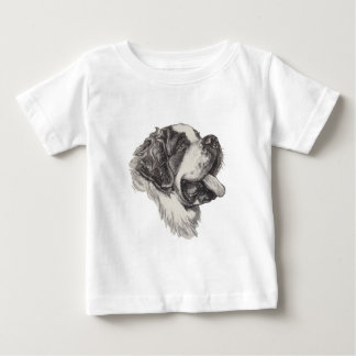 Classic Saint Bernard Dog Portrait Drawing Baby T-Shirt