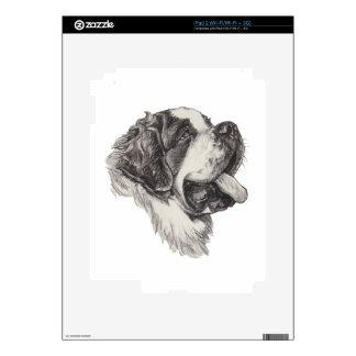 Classic Saint Bernard Dog Portrait Drawing Decal For The iPad 2