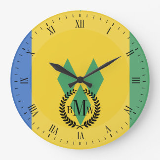 Classic Saint Vincent Flag Large Clock