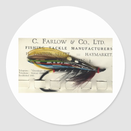 Classic Salmon Fly on card Classic Round Sticker