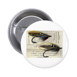 Classic Salmon Fly on card Pinback Button