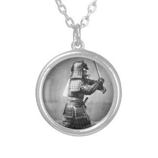 Classic Samurai Photo Round Pendant Necklace