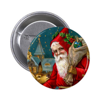Classic Santa and Deer Christmas 2 Inch Round Button