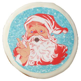 Classic Santa Claus On Blue Glitter Sugar Cookie