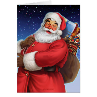 """Classic Santa"" Close Up Greeting Card"