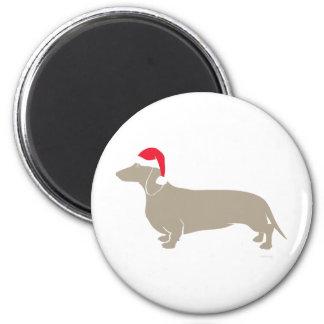 Classic Santa Doxie Dachshund 2 Inch Round Magnet