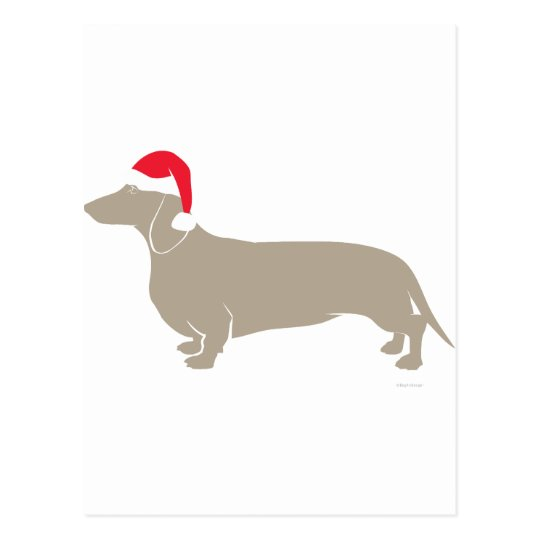 Classic Santa Doxie Dachshund Postcard