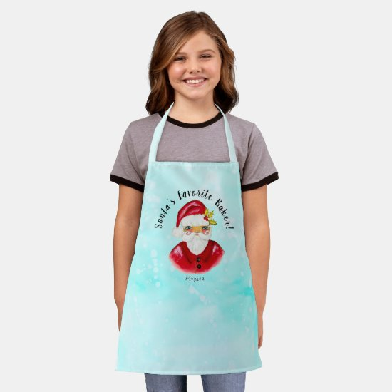 Classic Santa Holly Red Blue Add Name Best Baker Apron