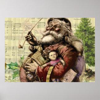 Classic Santa Illustration Poster