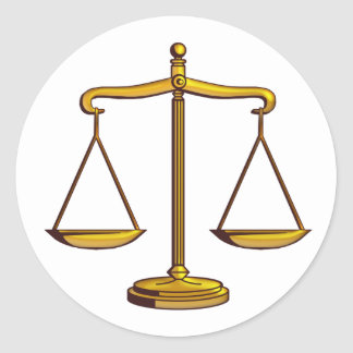 Classic Scales of Justice | Law Classic Round Sticker