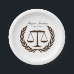 "Classic Scales of Justice Law School Graduation Paper Plate<br><div class=""desc"">Classic white background with laurel leaves and a scale of Justice to celebrate the new law school graduate. Easily add your own details and graduation photo to this customizeable design. All design elements can be moved, changed colors and text. Perfect graduation plates for your law school grad party. Need assistance...</div>"
