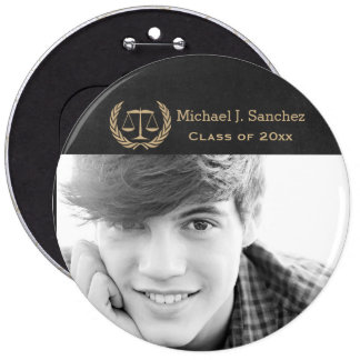 Classic Scales of Justice Law School Graduation Pinback Button